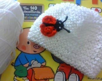 White newborn Ladybug baby Hat handmade