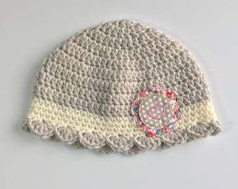 Heart Valentine's Day Beanie, Ready to Ship, Crochet Valentine Hat, Valentine's Day, Crochet Hat, Girl Hat, Crochet Beanie