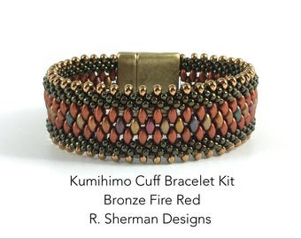 Kit - Kumihimo Beaded Cuff Bracelet in Bronze Fire Red, Complete Kit or Bead Refill Kit