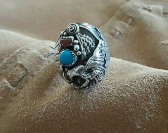 Sterling silver native American men's turquoise and coral ring with eagle, size 10