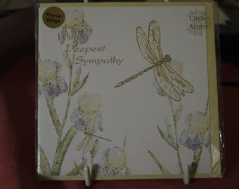 With Deepest Sympathy Card with a Dragonfly and Iris
