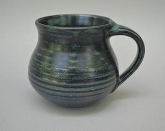Pottery Wheel Thrown Stoneware Cup Reduction Fired with Blue Varigated Glaze