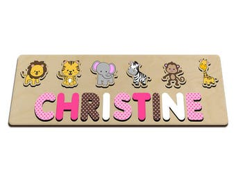 Jungle Friends Personalized Wooden Name Puzzle for One (1)  Two (2) Names Toy Puzzle for Girl Pink Brown White Great for Long Name 586111263