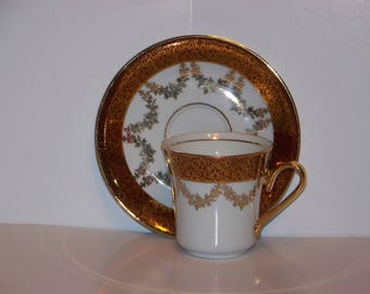 Demitasse China Cup and Saucer from Czechoslovakia