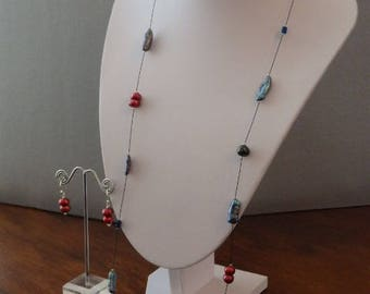 Long Pearl Necklace, Blue and Red Pearl Necklace, Contemporary Pearl Jewellery, Red Pearl Earrings