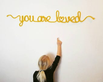 Wire Word Art, Yarn Art, Wire Wedding Art, Wire Word Wall Art,  Love Wall Sign, You Are Loved Sign