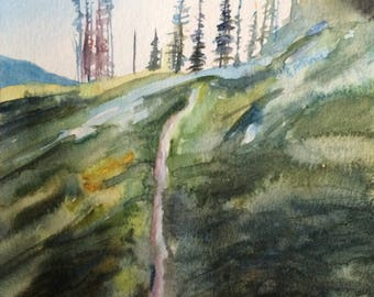 Alpine lakes wilderness, Pacific Northwest, Caacades, mountain watercolor, pine trees, landscape watercolor, Northwest watercolor, PNW art