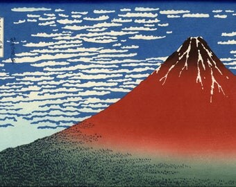 Poster, Many Sizes Available; South Wind, Clear Sky View Of Mount Fuji Japan 1830