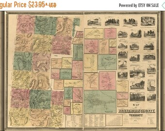 20% Off Sale - Poster, Many Sizes Available; Map Of Bennington County, Vermont 1856