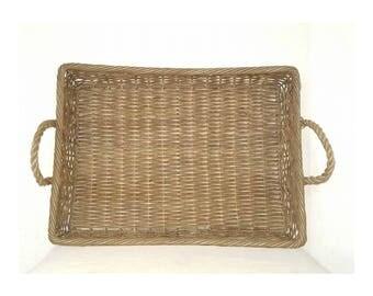 Vintage Large Woven Basket Tray, Hand Woven Basket,Rope Handles,Bohemian,BOHO,French Basket,Woven Basket,Rustic,Primatives,Farmhouse