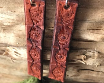 Southwest Style Leather Earrings