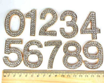 1pcs Metal Lucky Number 0 1 2 3 4 5 6 7 8 9 Decoden Cabochon Bling Deco Den Crystals Diy Cell Phone Case Decoration Charms Jewelry Making