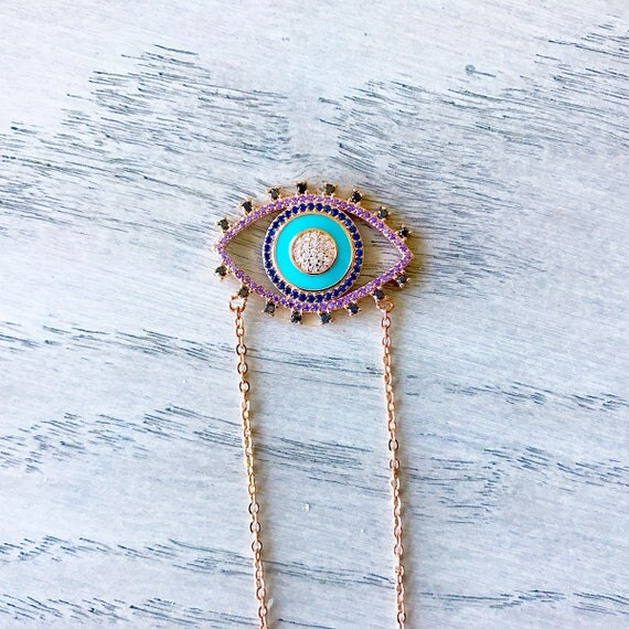 Harmony Evil Eye Necklace, Hamsa Pendant, Hamsa Protection Necklace, Unusual Gifts, Interesting Gift, Interesting Jewelry, Spiritual Jewelry