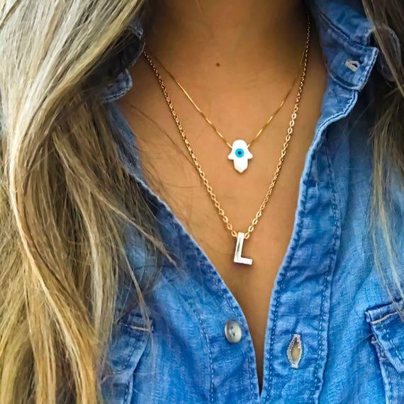 Hamsa Gold Necklace, Plus FREE Initial Letter, Evil Eye Pendant, Hamsa Charm, Hamsa Hand, Maid of Honor Gift, Interesting Gift, Gold Jewelry