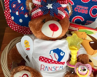 Chicago Cubs Baby Ensemble , Personalized baby Gift basket, Monogrammed Sports Team Outfit, Custom Baby Shower Gift, Photo Shoot Prop Outfit