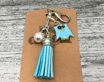 Planner Charm / Key Fob Blue Tassel and Owl