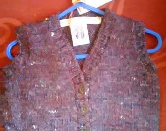 Hand knitted waistcoat, knitted in home spun wool to fit a baby boy aged 6-12 months old