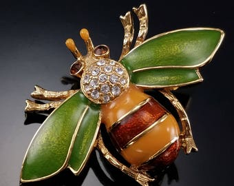 Vintage Bee Brooch Green Enamel Figural Insect Pin Estate Jewelry
