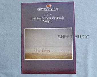 Sheet Music, Theme Song from Film 'Chariots of Fire', by Vangelis, 1980