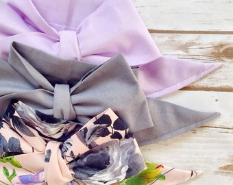 Gorgeous Wrap Trio (3 Gorgeous Wraps)- Lavender, Platinum & French Noir Floral Gorgeous Wraps; headwraps; fabric head wraps; bows