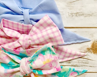 Gorgeous Wrap Trio (3 Gorgeous Wraps)- Periwinkle, Vintage Gingham & Petal Pink Floral Gorgeous Wraps; headwraps; fabric head wraps; bows