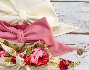 Gorgeous Wrap Trio (3 Gorgeous Wraps)- Ivory, Vintage Pink & Olive Floral Gorgeous Wraps; headwraps; fabric head wraps; bows
