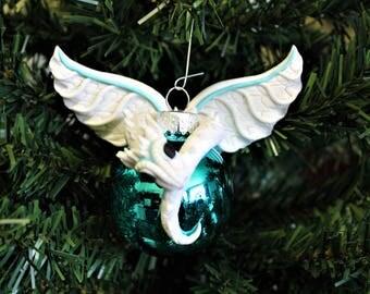 White Dragon Ornament Polymer Clay