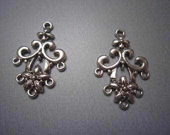 Set of 2 silver metal chandelier