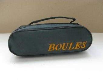 3 French vintage Jeu de Boules, Petanque balls.