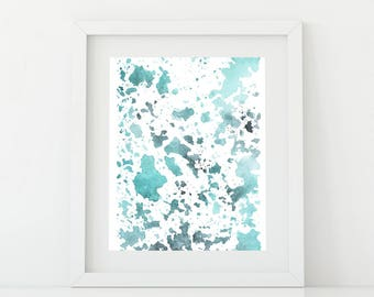 Printable Abstract Watercolor Art, Black, Mint Green, Wall Art, Watercolor Modern Art,  Abstract Art Print,  Instant Download