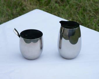 Bodum stainless steel sugar bow and creamer set Columbia C. Jorgensen design