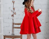 Red cotton girls dress-Christmas red toddler dress-Long sleeve toddler dress-Cotton girls dress-Christmas girls gift-Flutter girls dress