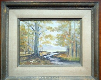 Original Signed Californian Oil Painting/Autumn Forest Scene/Fall Leaves/Trees/Stream/Mountains/by Artist Randolph M. Lee/Artwork/Painting