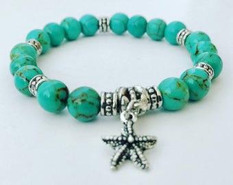 Turquoise magnesite stretch charm bracelet