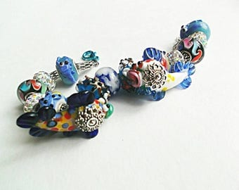 Fish lampwork bracelet caramel brown green blue yellow lampwork animals cuff surprise summer gift for her unique cute bracelet caramel fish