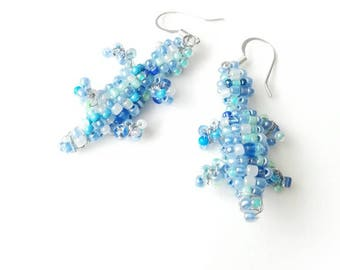Blue lizard beaded earrings animal seed beads beadwork unique boho gift for her for Mom exclusive designer silver jewelry earring lizards