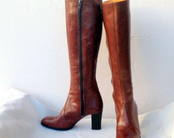sz 4.5 m vintage 70s brown leather tall high heel boots AMALFI Designer Collection label