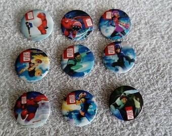 Set of 9 badges baymax