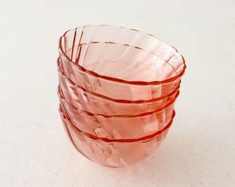 Vereco Pink Glass Bowls Set of Four