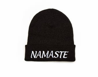 Namaste Beanie, Namaste Hat, Yoga Gifts, Mindfulness Gift, Embroidered Beanie, Beanies with Words