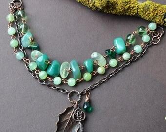 Gemstone bracelet, real leaf jewelry, onyx bracelet, electroformed bracelet, green stone bracelet, herbalist jewelry, forest jewelry, agate
