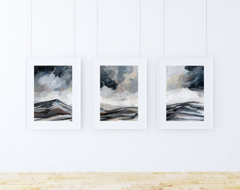 Tranquil Range Triptych 11x14, landscape mountain acrylic painting