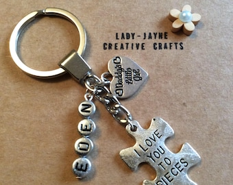 Daddy's little girl personalised keyring. I love you to piece's. New daddy gift. Father's Day keyring gift. New dad. New baby gift to parent