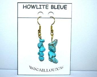 HOWLITE Turquoise 2 - hook earring gold