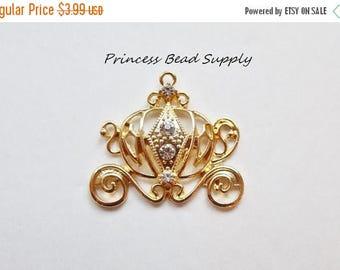 SALE Gold Princess Carriage Rhinestone Pendant for Chunky Necklaces, 46mm Carriage Pendant, Chunky Pendant