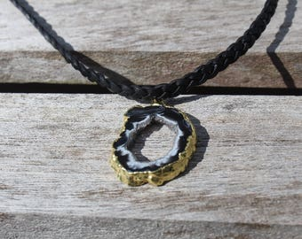 Geode on Braided Leather