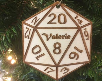 20 Sided Die (D20) Personalized Christmas Ornament
