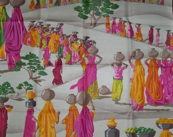 MANUEL CANOVAS REMNANT Sari Middle Eastern Toile Linen Pillow Crafts Quilters Fabric