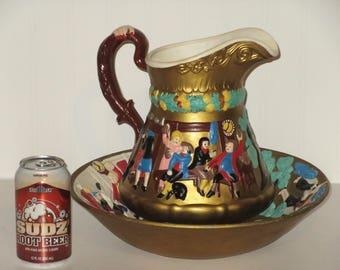 Vintage Antique Wash Basin & Pitcher Set Paul Rever's Ride Porcelain Hand painted Pitcher and Wash Basin