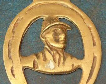 Rare vintage HORSE BRASS featuring a JOCKEY Design Made in England